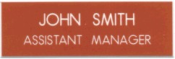 """NMTG1X3P - 1"""" X 3"""" Engraved name badge with pin backing"""