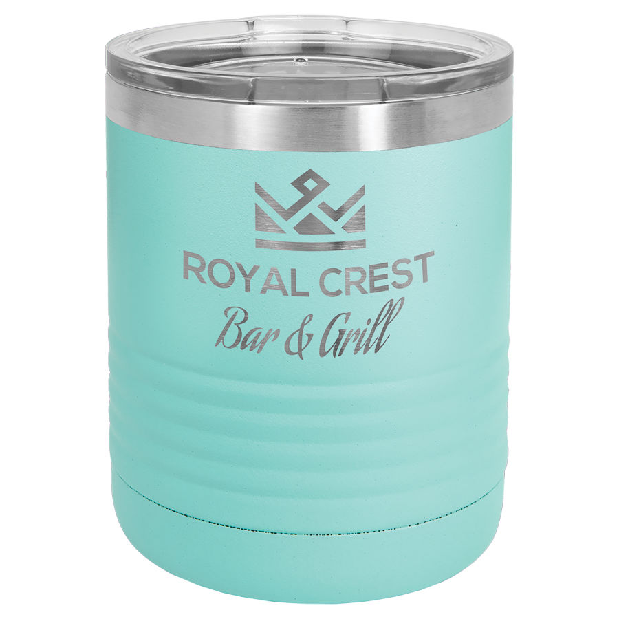 10 oz Powder Coated Teal Stainless Steel Polar Camel insulated tumbler.  Customizable with your personal image or saying.