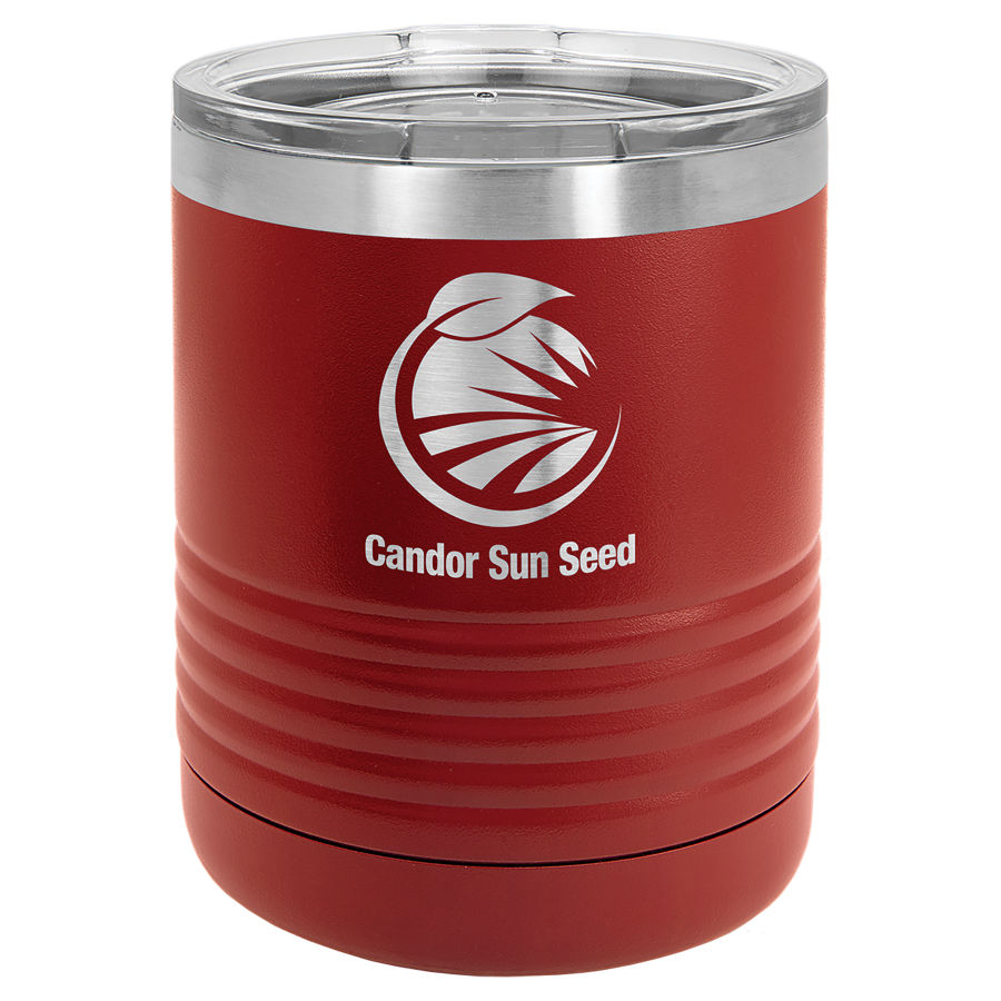 10 oz Powder Coated Maroon Stainless Steel Polar Camel insulated tumbler.  Customizable with your personal image or saying.