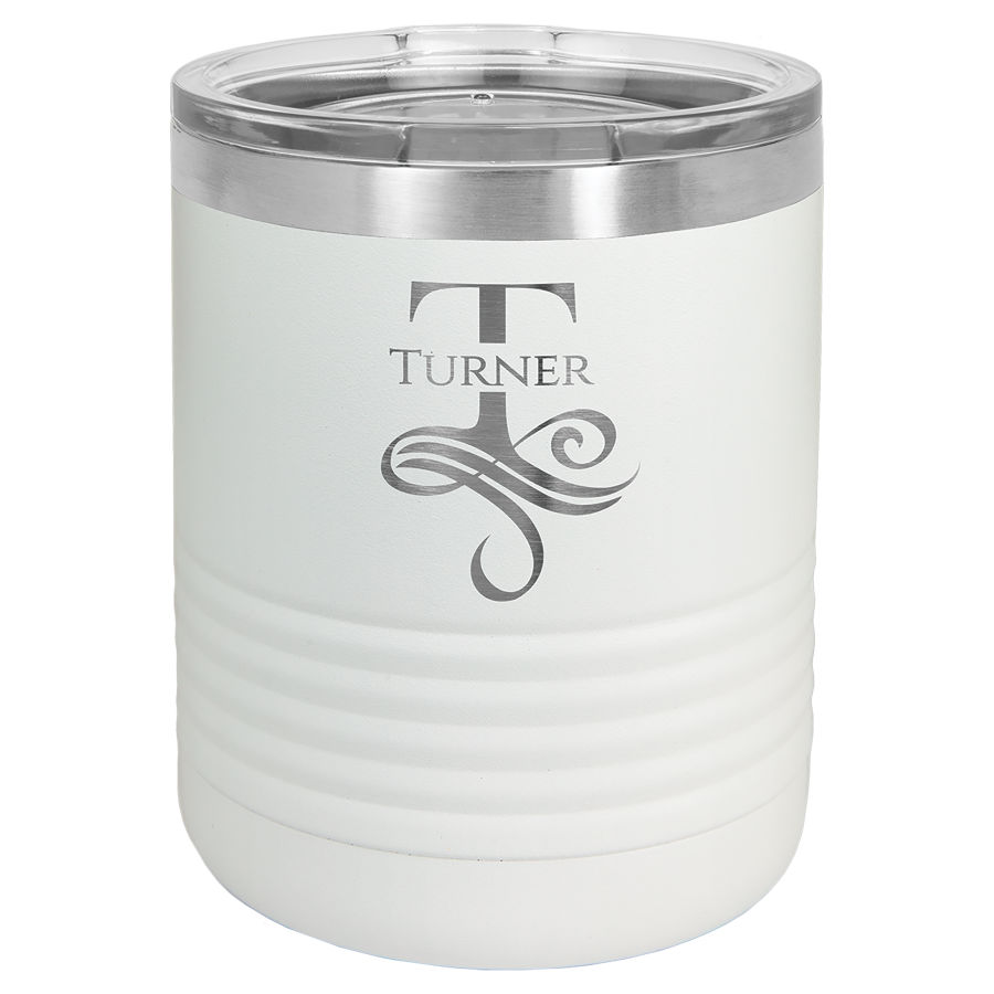 10 oz Powder Coated White Stainless Steel Polar Camel insulated tumbler.  Customizable with your personal image or saying.