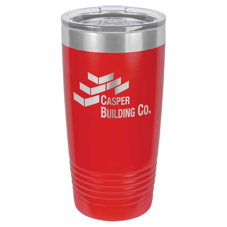 20 oz Red Powder coated Stainless Steel Polar Camel insulated tumbler.  Customizable with your personal image or saying.