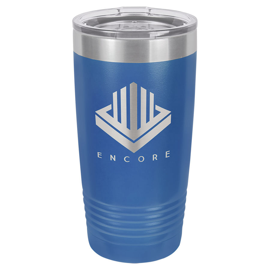 20 oz Blue Powder coated Stainless Steel Polar Camel insulated tumbler.  Customizable with your personal image or saying.