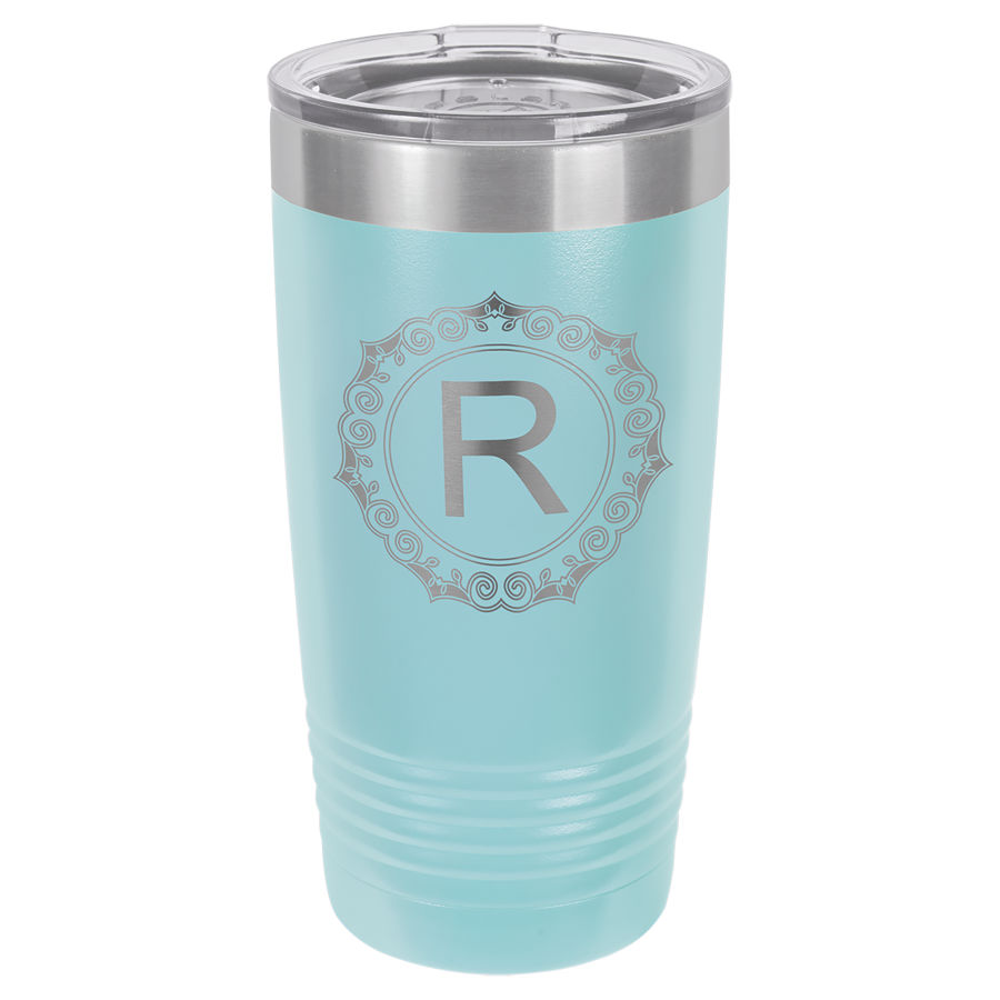 20 oz Light Blue Powder coated Stainless Steel Polar Camel insulated tumbler.  Customizable with your personal image or saying.