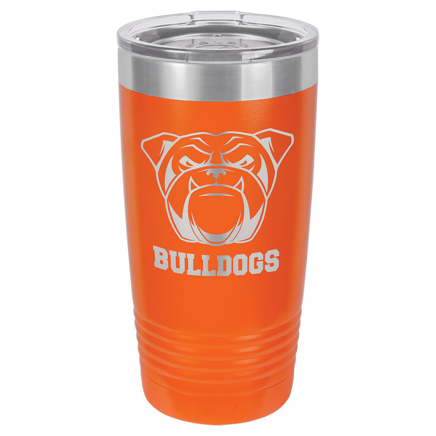 20 oz Orange Powder coated Stainless Steel Polar Camel insulated tumbler.  Customizable with your personal image or saying.