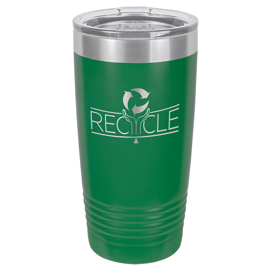 20 oz Green Powder coated Stainless Steel Polar Camel insulated tumbler.  Customizable with your personal image or saying.