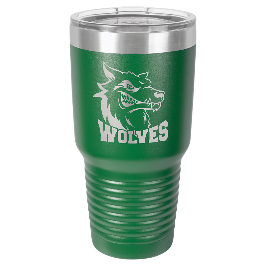 30 oz. Green Polar Camel insulated tumbler.  Customizable with your personal image or saying.