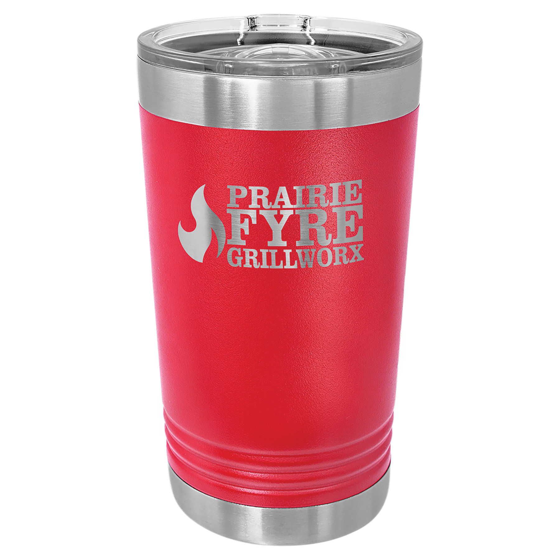 16 oz. Red Stainless Steel Polar Camel Pint with Slider Lid.  Customizable with your personal image or saying.