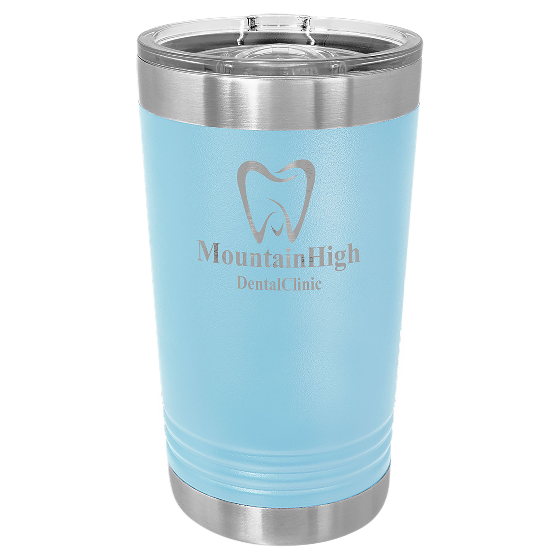 16 oz. Light Blue Stainless Steel Polar Camel Pint with Slider Lid.  Customizable with your personal image or saying.
