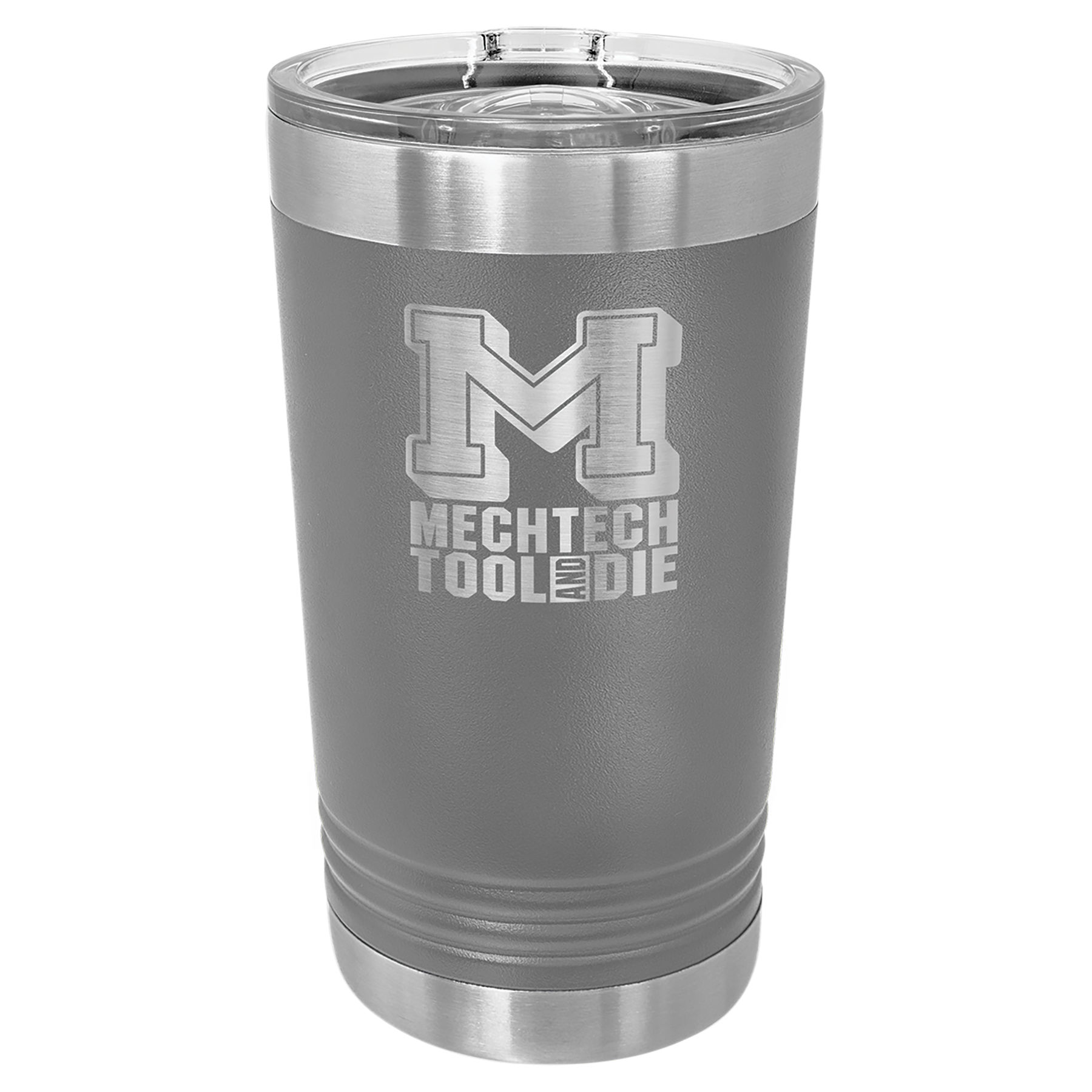 16 oz. Dark Gray Stainless Steel Polar Camel Pint with Slider Lid.  Customizable with your personal image or saying.