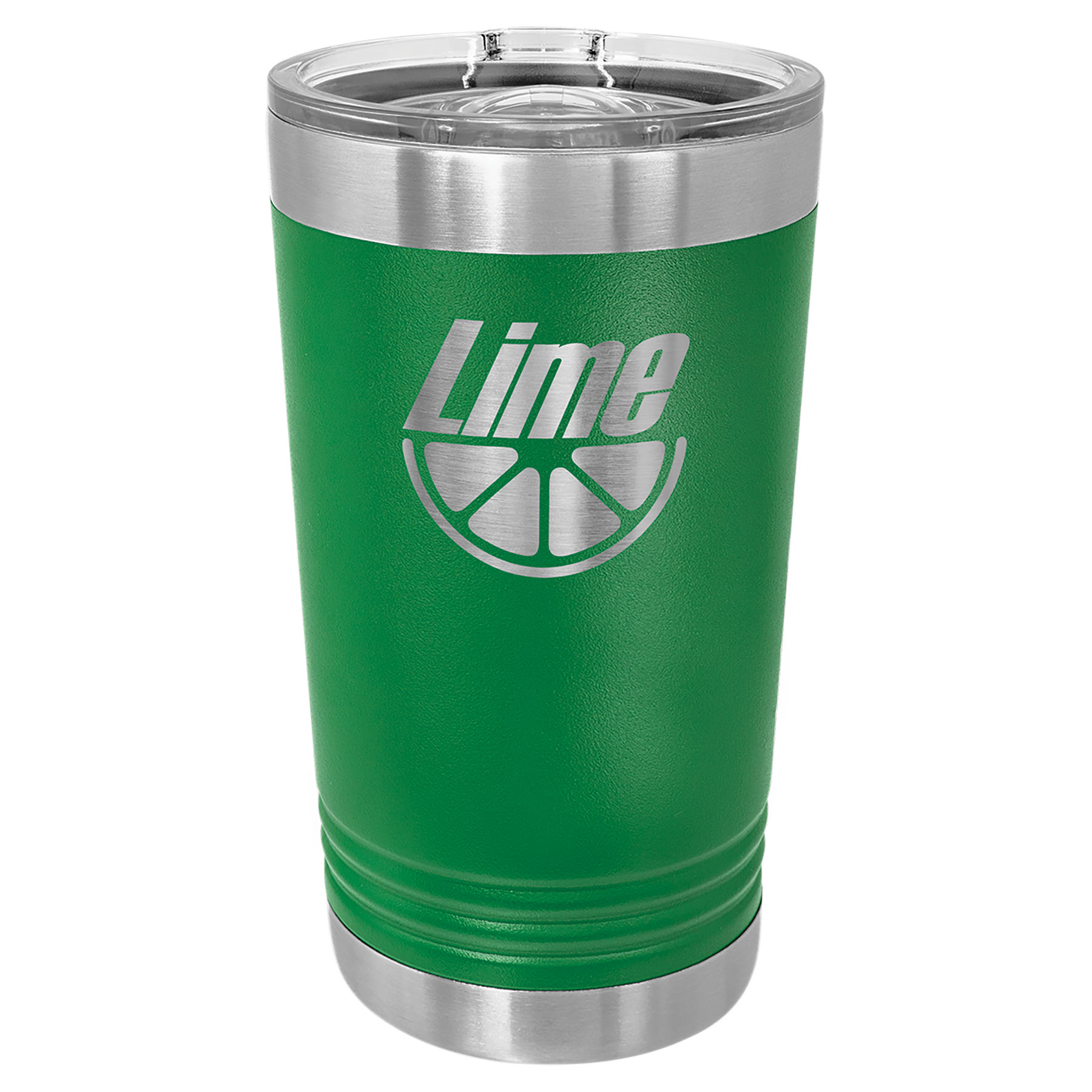 16 oz. Green Stainless Steel Polar Camel Pint with Slider Lid.  Customizable with your personal image or saying.