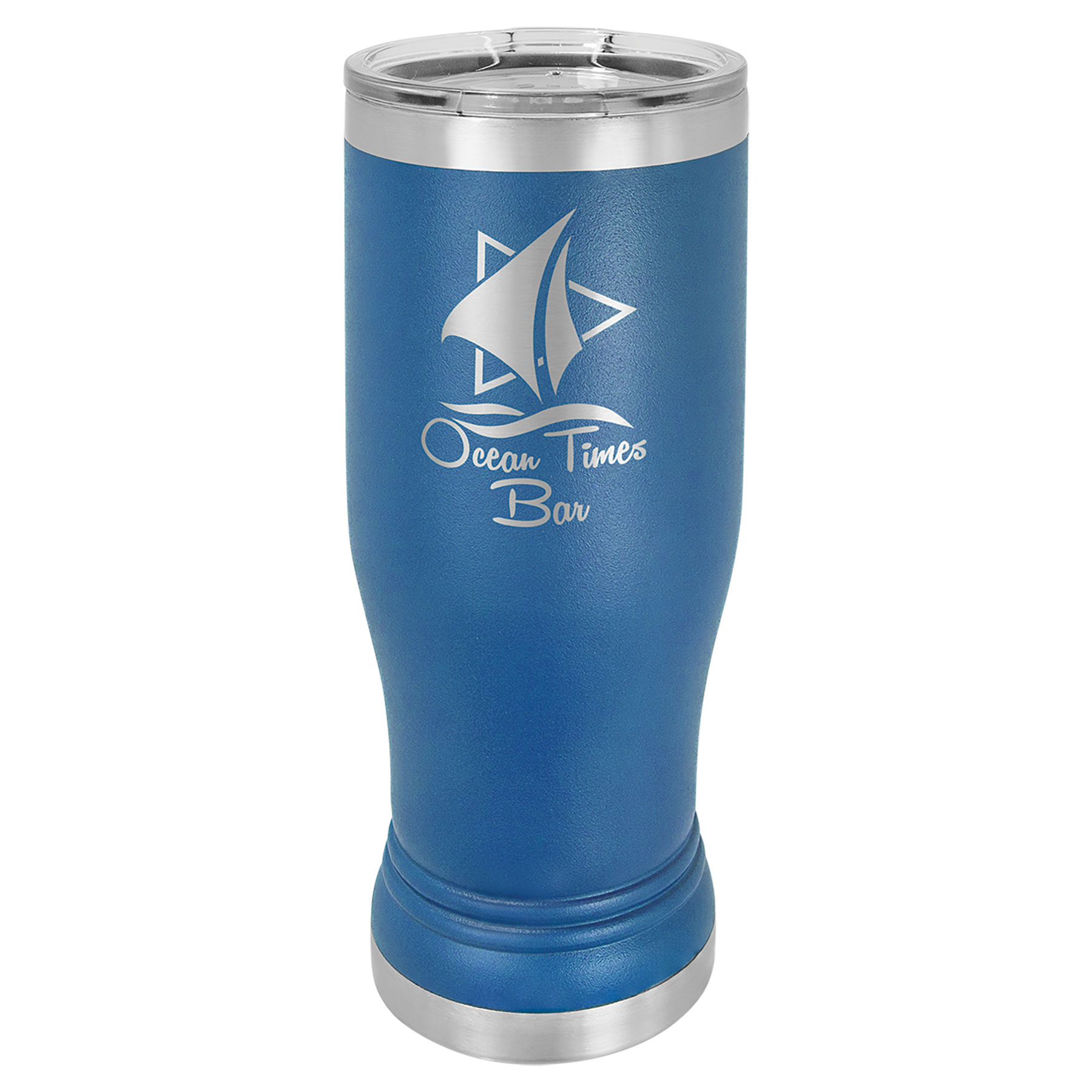 14 oz. Blue Stainless Steel Polar Camel Pilsner.  Customizable with your personal image or saying.