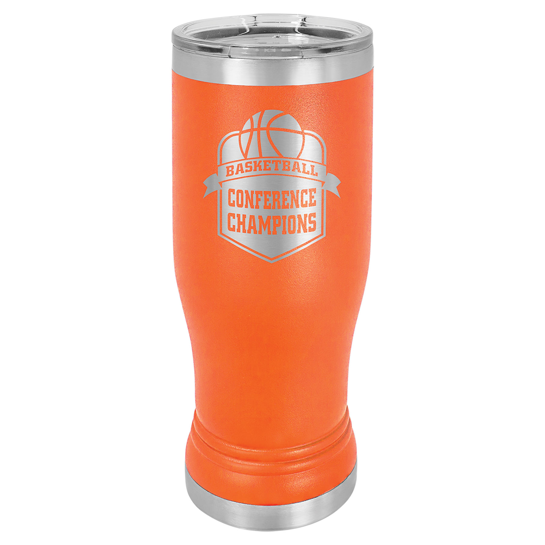 14 oz. Orange Stainless Steel Polar Camel Pilsner.  Customizable with your personal image or saying.