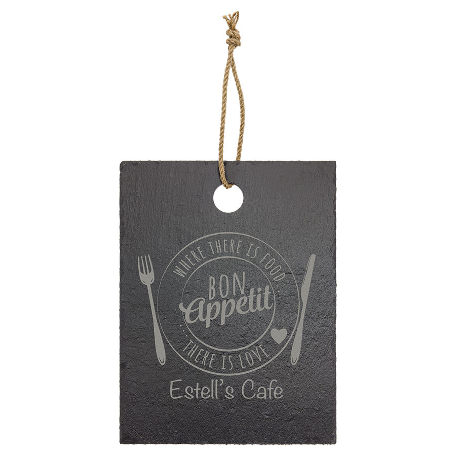 """Customize this 8-3/4"""" x 11-1/4"""" laser engraved slate with your company logo or personal saying."""