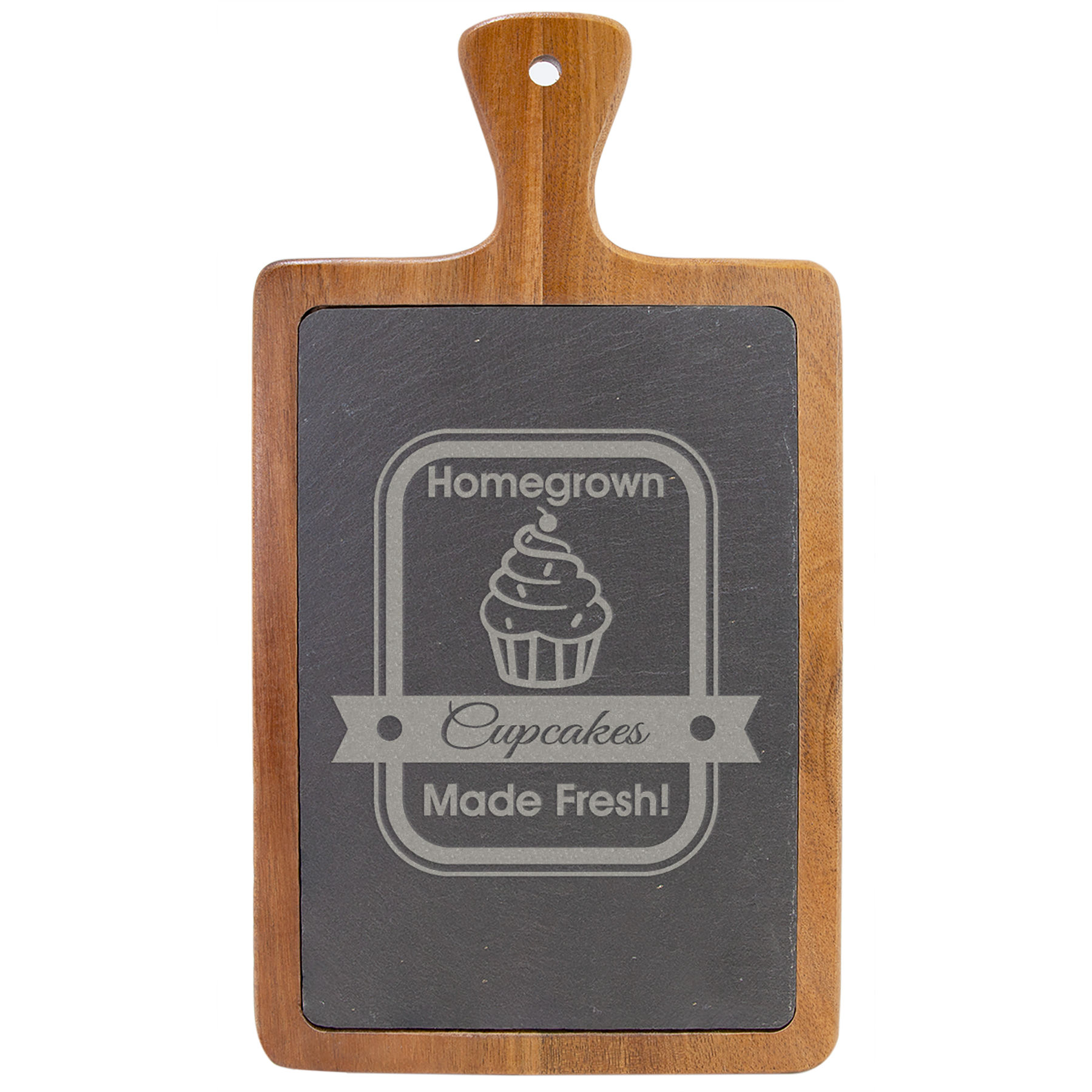 """Customize this 13 1/4"""" x 7"""" Acacia Wood/Slate Cutting Board with your company logo or personal saying."""