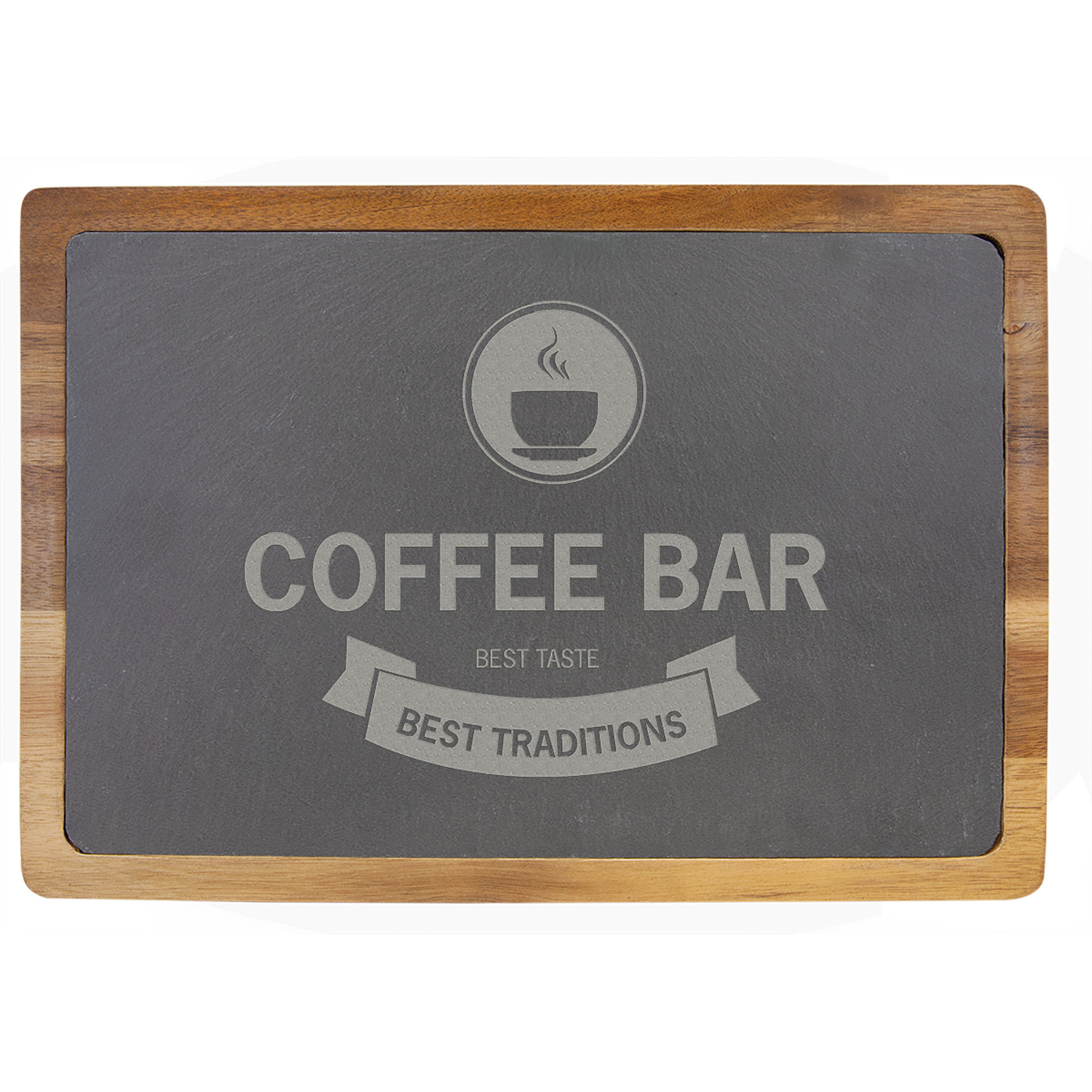 """Customize this 13"""" x 9"""" Acacia Wood/Slate Cutting Board with your company logo or personal saying."""