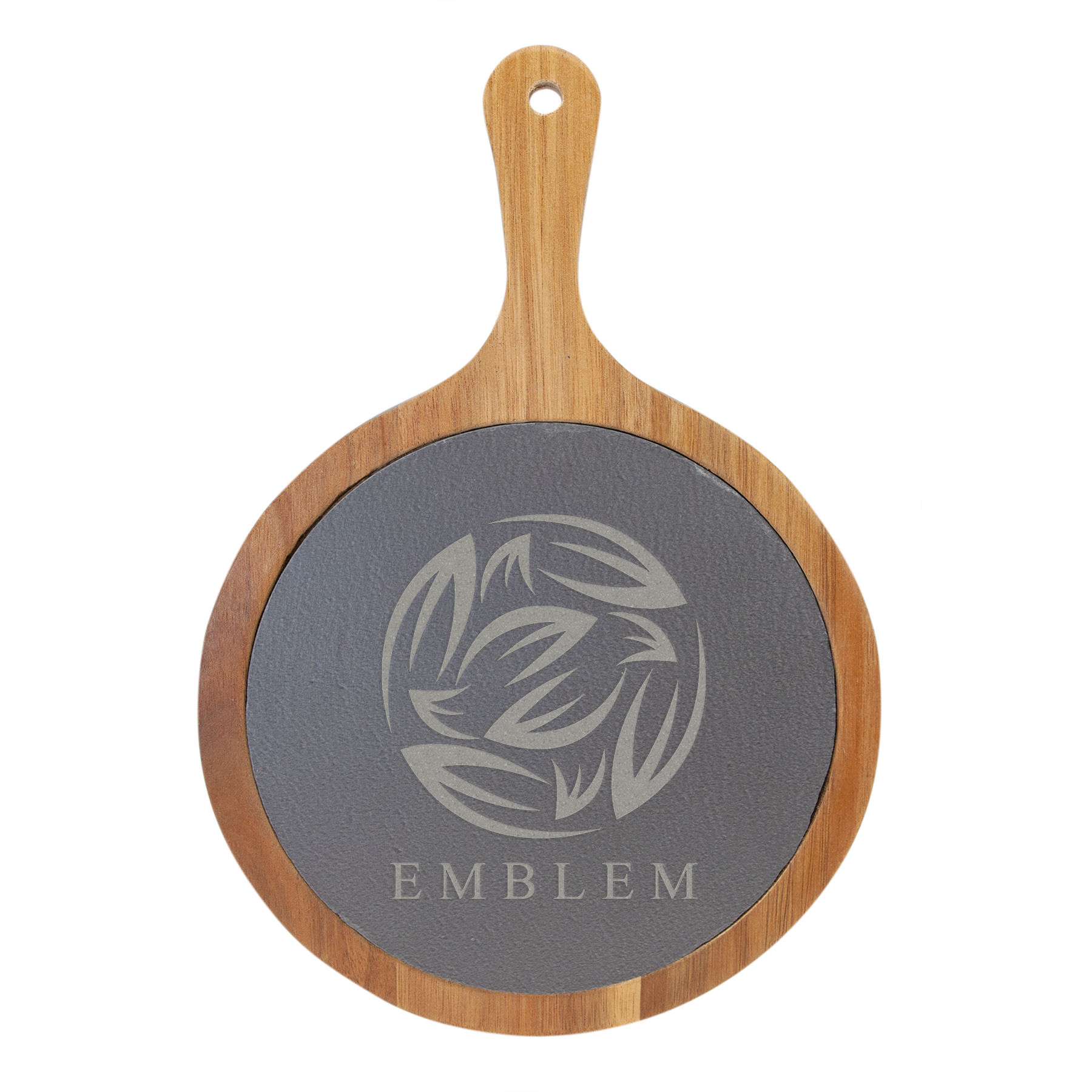 """Customize this 12 1/4"""" x 8 1/4"""" Round Acacia Wood/Slate Serving Board with Handle with your company logo or personal saying."""
