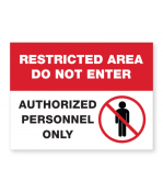 """Petersen Specialty - 5.875"""" x 7.875"""" Authorized Personnel wall sign, """"Restricted Area, Employees Only"""" for COVID-19 social distancing guidelines. This and more ready-made coronavirus guideline signs available now. Order Today!"""