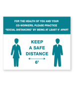 """Petersen Specialty - 5.875"""" x 7.875"""" social distancing instructions wall sign, """"Keep A Safe Distance"""" for COVID-19 guidelines. This and more ready-made coronavirus guideline signs available now. Order Today!"""