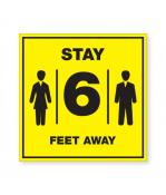 """Petersen Specialty - 7.875"""" x 7.875"""" acrylic bright yellow social distancing wall sign """"Stay 6 Feet Away"""" for COVID-19 social distancing guidelines. This and more ready-made coronavirus guideline signs available now. Order Today!"""