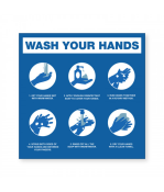 """Petersen Specialty - 7.875"""" x 7.875"""" hand washing instructions wall sign for COVID-19 guidelines. This and more ready-made coronavirus guideline signs available now. Order Today!"""