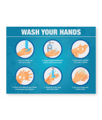 """Petersen Specialty - 7.875"""" x 7.875"""" hand washing instructions wall sign """"Hand Washing Instructions"""" for COVID-19 sanitary guidelines. This and more ready-made coronavirus guideline signs available now. Order Today!"""