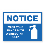 """Petersen Specialty - 5.875"""" x 7.875"""" wall sign """"Wash Your Hands with Disinfectant Soap for COVID-19 guidelines. This and more ready-made coronavirus guideline signs available now. Order Today!"""