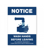 """Petersen Specialty - 5.75"""" x 7.75"""" wall sign """"Wash Your Hands Before Leaving"""" for COVID-19 guidelines. This and more ready-made coronavirus guideline signs available now. Order Today!"""