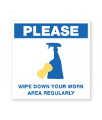 """Petersen Specialty - 7.75"""" x 7.75"""" work area sanitation instructions wall sign for COVID-19 guidelines. This and more ready-made coronavirus guideline signs available now. Order Today!"""