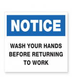 """Petersen Specialty - 5.875"""" x 7.875"""" wall sign """"Wash Your Hands Before Returning to Work"""" for COVID-19 guidelines. This and more ready-made coronavirus guideline signs available now. Order Today!"""