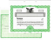 Blank corporate stock certificates. Easy to fill in the blanks from your software or hand write the information.