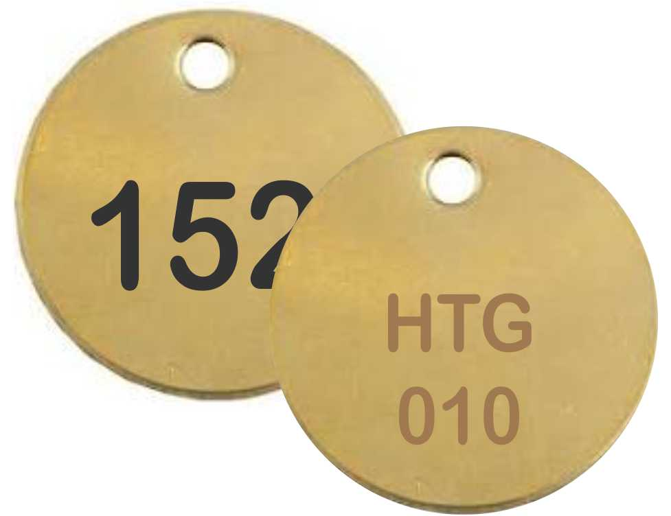 "Petersen Specialty - Engraved 1-1/2"" round brass tag for control boxes/panels, machine equipment and industrial uses. Customize text, color and easy install options for your needs. Durable for indoors and outdoors. Order today!"