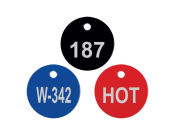 "Petersen Specialty - Engraved 1"" round stainless steel tag for control boxes/panels, machine equipment and industrial uses. Customize text, color and easy install options for your needs. Durable for indoors and outdoors. Order today!"