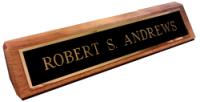"BRS2X10WB - 2"" x 10"" Black Brass Nameplate on Wooden Desk Base"