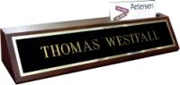"BRS2X10WBC - 2"" x 10"" Black Brass Nameplate on Wooden Base w/Business Card Slot"